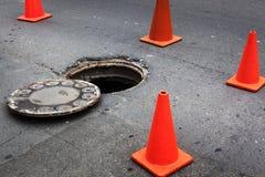 Open manhole Stock Image