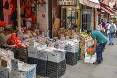 Open market in Chinatown in Manhattan, New York City stock image