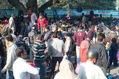Open Market in Delhi India. India street scene, Delhi - Open market outside the Great Mosque (Jama Masjid stock photography