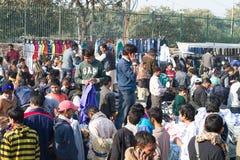 Open Market in Delhi India. India street scene, Delhi - Open market outside the Great Mosque (Jama Masjid stock photo