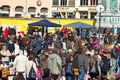 Open market. Imagine showing a crowded market in place Guillame in Luxembourg full of people Stock Image