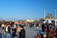 Open market in Istanbul - Turkey. Open-market on the shore of the Golden Horn, near the Galata Bridge. In the background you can see the Yeny Mosque Royalty Free Stock Photos