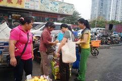 Open market, people in the purchase of goods Stock Images