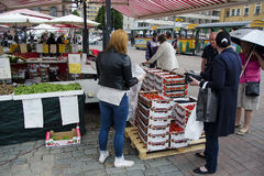Open market in Tampere Finland Stock Photos