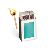 Open matchbox with burning match  Royalty Free Stock Photos