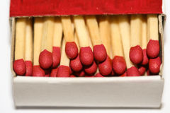 Open matchbox. With matches inside Stock Image