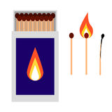 Open matchbox with matches vector illustration. Royalty Free Stock Photo