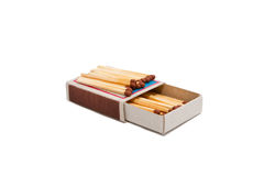 Open matchbox with matches Stock Photo