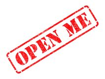 Open Me - Red Rubber Stamp. Royalty Free Stock Photo