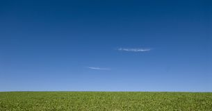 Open meadow 2. An open meadow with two wispy clouds in a bright blue sky stock images