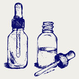 Open medicine bottle with a dropper Royalty Free Stock Photos