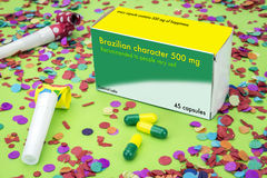 Open medicine packet labelled Brazilian character Stock Photo