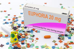 Open medicine packet labelled euphoria opened at one end to disp Royalty Free Stock Photos