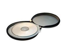 Open metaalzak voor het opslaan van CD schijven op wit Stock Foto's