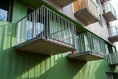 Open metal balconies of a modern building. Open metal balconies of a modern residential building stock photos