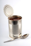 The open metal can. On a light grey background Royalty Free Stock Photo