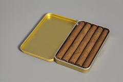 Open Metal Cigar Box Royalty Free Stock Images