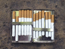 Open metal cigarette case Royalty Free Stock Images