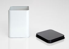 Open metal container on white background Royalty Free Stock Photography