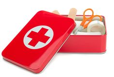 An open metal first aid box with contents Stock Photography