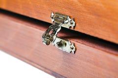 Open metal lock of wooden box Stock Image
