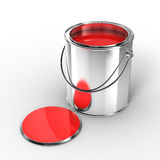 Open metal paint can. With red paint Royalty Free Stock Images