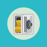 Open metal safe with golden coins flat design Stock Images