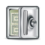 Open metal safe with money bills  Royalty Free Stock Images