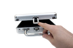 Open metal suitcase Royalty Free Stock Image