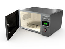 Open metallic microwave. 3d Royalty Free Stock Photos