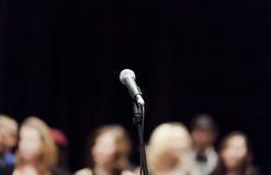Open Microphone on Stage Stock Photography