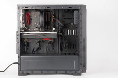 Open midi tower computer case on white background Stock Image