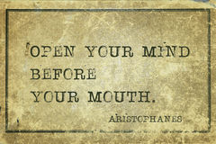 Open mind before Aristophanes Stock Photo