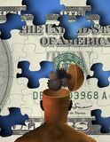 Open Mind Creative Wealth. Man with opened mind reveals gears before puzzle US currency Royalty Free Stock Photos