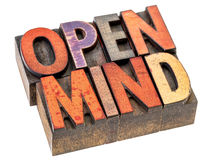 Open mind in vintage wood type Stock Photo