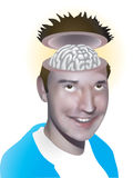 Open minded. Vector illustration of a man with his brain on show Royalty Free Stock Images