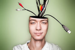 Open minded man, with cables out head. Conceptual image of a open minded man, with cables out head stock photo