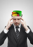 Open minded man with colorful 3d pie chart graph Stock Photography