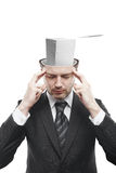 Open minded man with stack of papers inside. Thinking about work.Conceptual image of a open minded man stock image