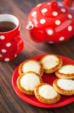 Open mini pies with cottage cheese Stock Photos