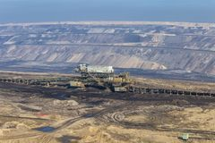 Open mining of coal by open method Royalty Free Stock Images