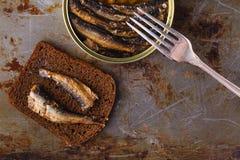 Open a mis en boîte des poissons près de la fourchette sur le fond rustique Photo libre de droits