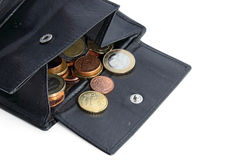 Open money bag with euro coins stock photos
