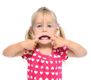 Open mounth silly face Royalty Free Stock Photo