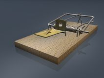 Open mousetrap on gray background Stock Image