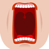 Open mouth facial. Teeth and tongue. Hunger. yawns on white back Royalty Free Stock Photo