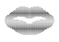 Open mouth made of color halftone dots Stock Images