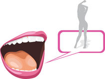 Open mouth and silhouette of a dancing girl Stock Photos