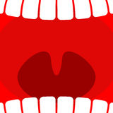 Open mouth. Teeth and throat background. larynx Royalty Free Stock Photo