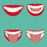 Open Mouth Vector. Illustration. beautiful smile with teeth stock illustration